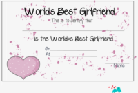 Free Printable World'S Best Girlfriend Certificate – Love with regard to Best Free Printable Best Husband Certificate 7 Designs