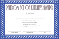 Free Random Acts Of Kindness Certificate Template 2 | Two with Kindness Certificate Template Free