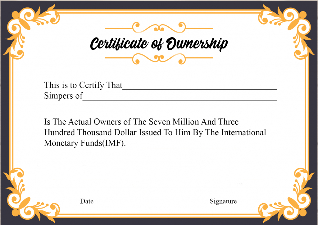 Free Sample Certificate Of Ownership Templates   Certificate For Fresh Certificate Of Ownership Template