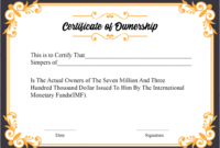 Free Sample Certificate Of Ownership Templates | Certificate intended for Best Ownership Certificate Templates