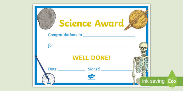 Free! - Science Award Certificate (Teacher Made) in Best Free 6 Printable Science Certificate Templates