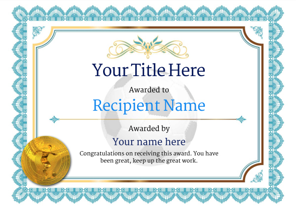 Free Soccer Certificate Templates - Add Printable Badges In Soccer Award Certificate Template