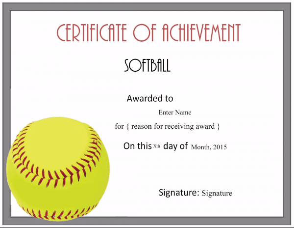 Free Softball Certificate Templates - Customize Online Regarding Printable Softball Certificate Templates