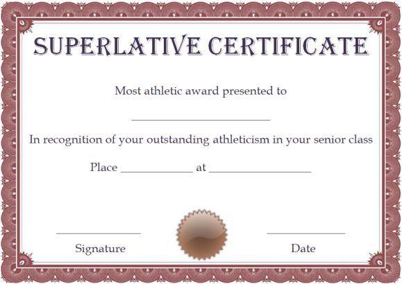 Free Superlative Certificate Template | Certificate For School Promotion Certificate Template 10 New Designs Free