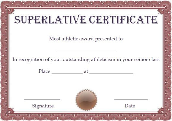Free Superlative Certificate Template   Certificate With Regard To Free Printable Certificate Of Promotion 12 Designs