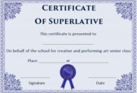 Free Superlative Certificate Templates | Certificate inside Unique Superlative Certificate Template