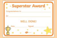 Free! – Superstar Award Certificate with regard to Good Behaviour Certificate Editable Templates