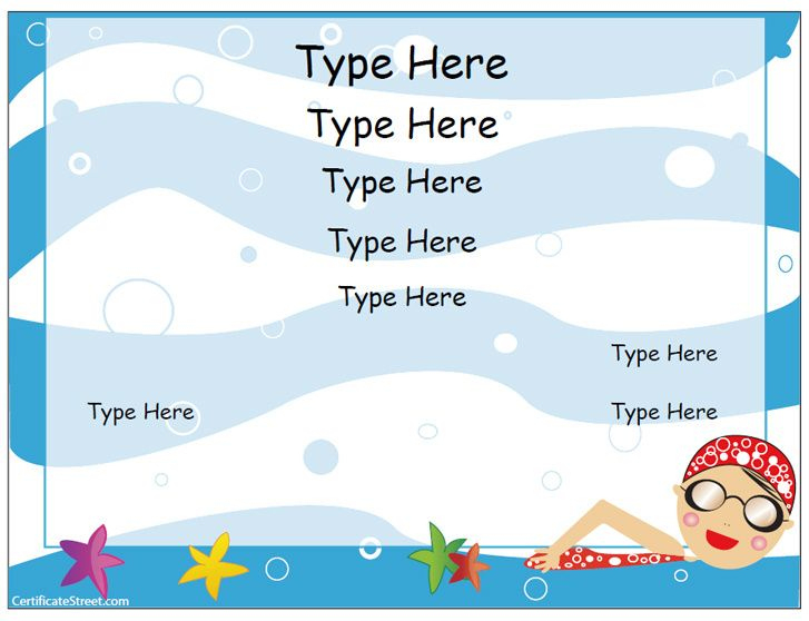 Free Swimming Certificate Templates Blank Certificate With Regard To Editable Swimming Certificate Template Free Ideas