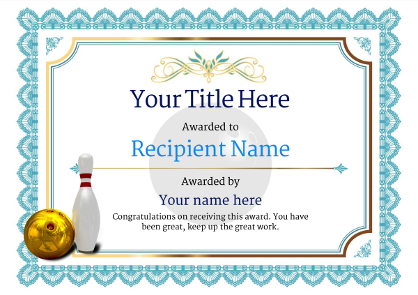 Free Ten Pin Bowling Certificate Templates Inc Printable Inside 10 Certificate Of Championship Template Designs Free