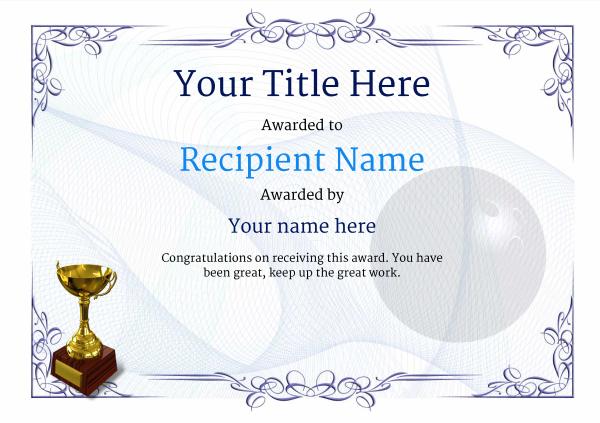 Free Ten Pin Bowling Certificate Templates Inc Printable With Bowling Certificate Template