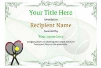Free Tennis Certificate Templates – Add Printable Badges inside Tennis Achievement Certificate Template