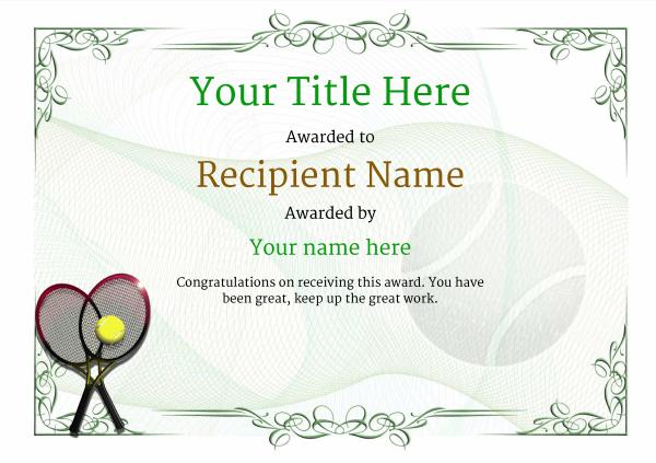 Free Tennis Certificate Templates - Add Printable Badges Inside Tennis Achievement Certificate Template