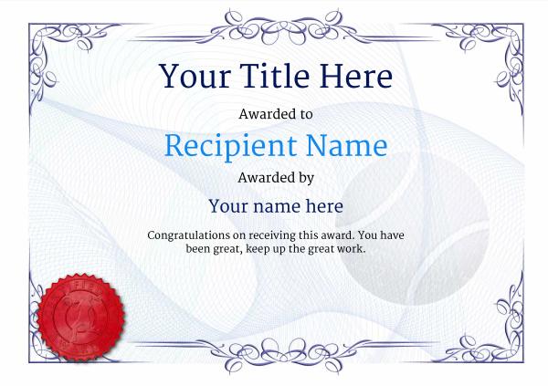 Free Tennis Certificate Templates - Add Printable Badges Pertaining To Table Tennis Certificate Template Free