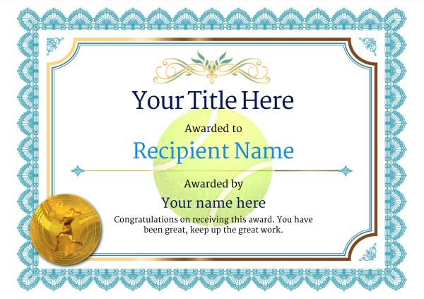 Free Tennis Certificate Templates - Add Printable Badges regarding Fresh Tennis Achievement Certificate Templates