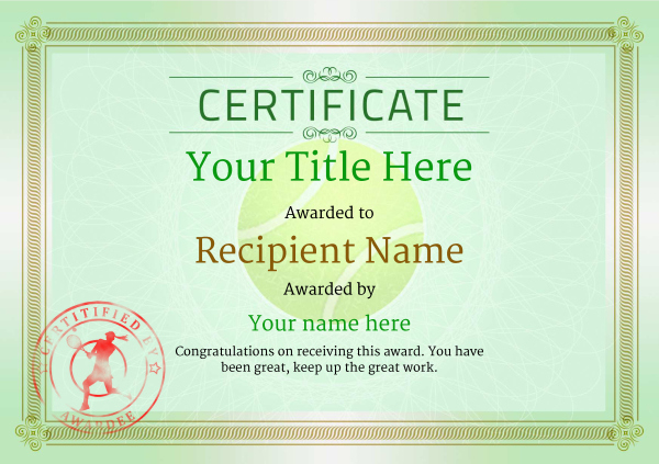 Free Tennis Certificate Templates - Add Printable Badges With Regard To Fresh Tennis Achievement Certificate Templates