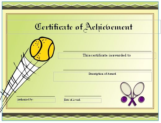 Free Tennis Certificates On Womens Tennis World   Gift Inside Tennis Achievement Certificate Templates