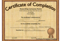 Free Training Completion Certificate Templates (7 with regard to Fresh Training Completion Certificate Template