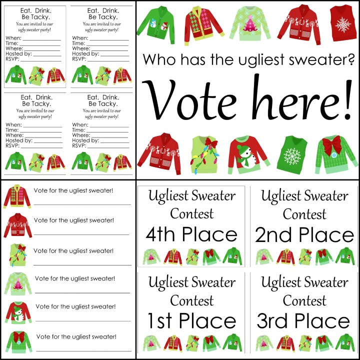 Free Ugly Sweater Printables For Your Party - The Country For Free Ugly Christmas Sweater Certificate Template