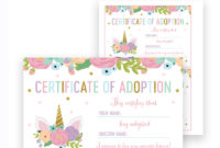 Free Unicorn Birthday Certificate Of Adoption Printable in Best Unicorn Adoption Certificate Templates