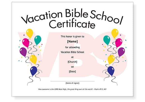 Free Vbs Attendance Certificate Template Download inside Best Vbs Attendance Certificate Template