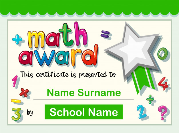 Free Vector | Certificate Template For Math Award intended for Fresh Math Award Certificate Template