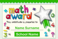 Free Vector | Certificate Template For Math Award with regard to Math Achievement Certificate Templates