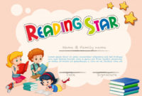 Free Vector | Certificate Template For Reading Star in Star Reader Certificate Template