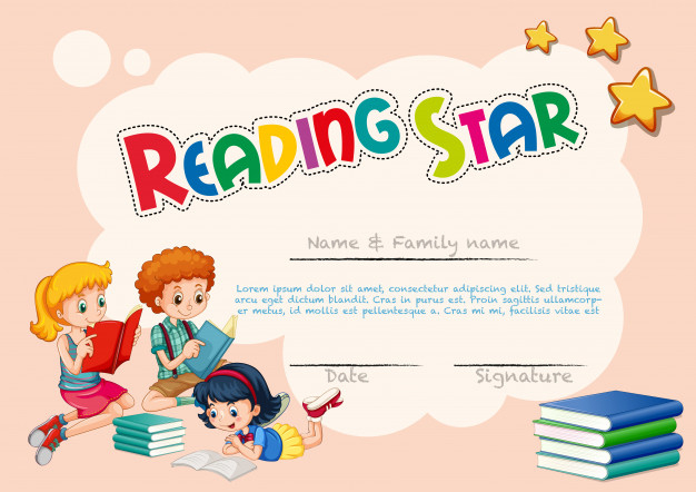 Free Vector | Certificate Template For Reading Star Inside Reader Award Certificate Templates