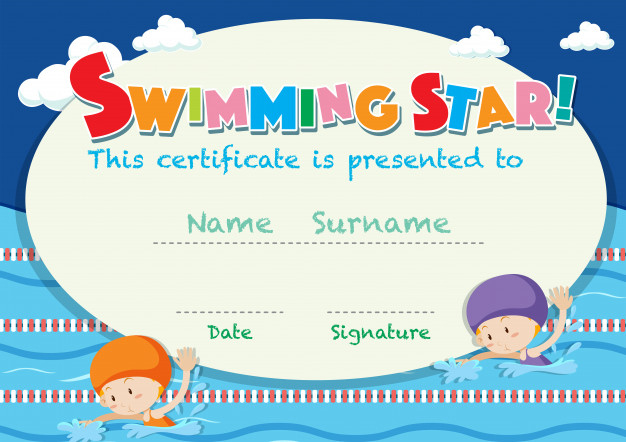 Free Vector | Certificate Template With Kids Swimming pertaining to Swimming Certificate Template