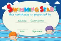 Free Vector   Certificate Template With Kids Swimming with regard to Best Swimming Achievement Certificate Free Printable