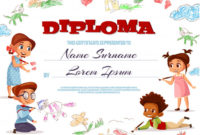 Free Vector | Diploma Template Illustration Of Kindergarten inside Daycare Diploma Template Free
