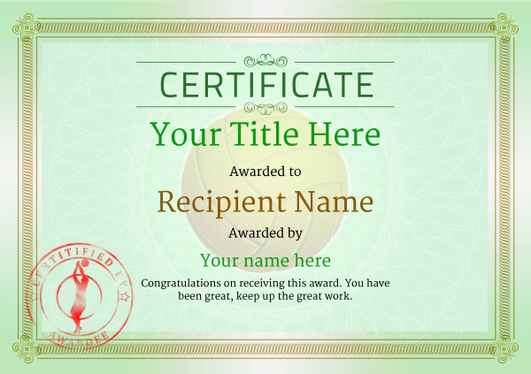 Free Volleyball Certificate Templates - Add Printable Badges For Best Volleyball Tournament Certificate