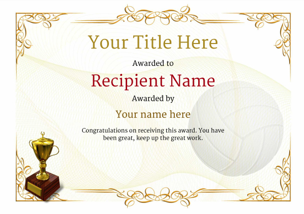 Free Volleyball Certificate Templates - Add Printable Badges In Unique Volleyball Certificate Templates