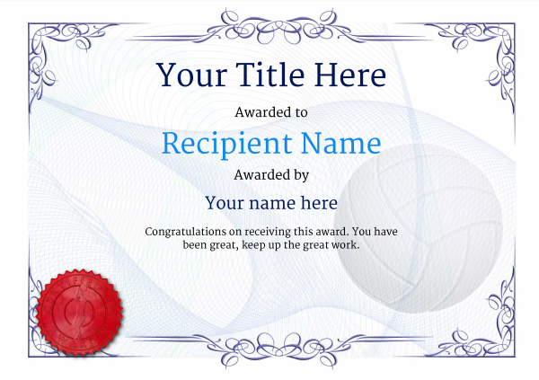 Free Volleyball Certificate Templates - Add Printable Badges Pertaining To Volleyball Certificate Template Free