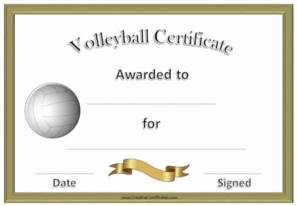 Free Volleyball Certificate Templates - Customize Online With Volleyball Participation Certificate
