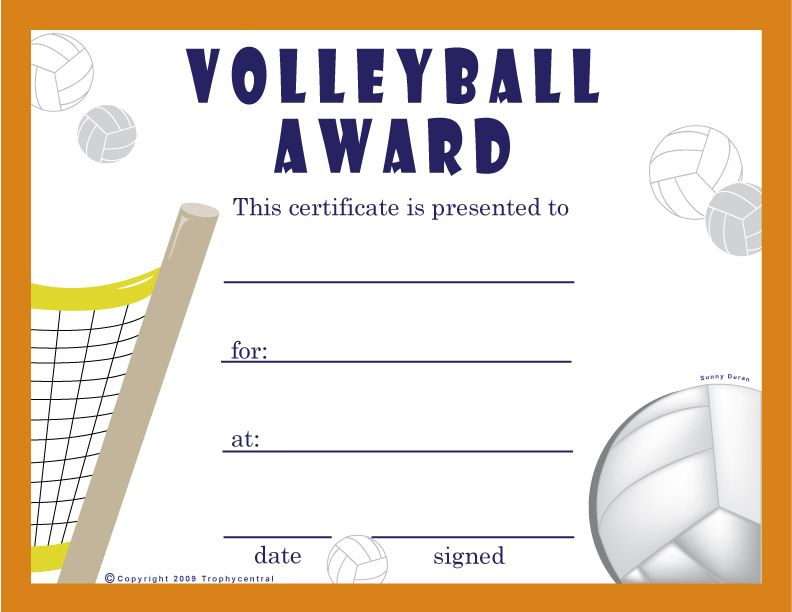 Free Volleyball Certificates | Trophycentral | Volleyball inside Best Volleyball Award Certificate Template Free