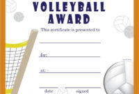 Free Volleyball Certificates | Trophycentral | Volleyball intended for Volleyball Participation Certificate
