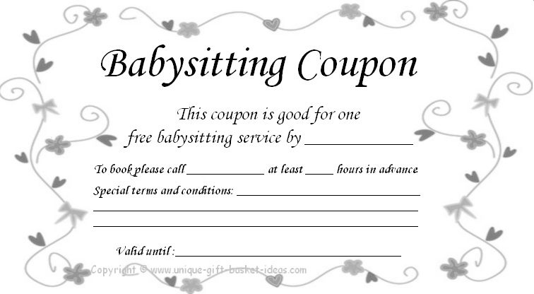 Free+Babysitting+Coupon+Template | Babysitting Coupon With Best Free Printable Babysitting Gift Certificate