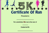 Fun Run Certificate Template : 14+ Editable Free Word throughout Unique 5K Race Certificate Template