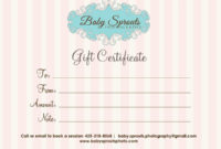 Gift Certificate Baby Sprouts Photography – Baby Sprouts intended for Photography Session Gift Certificate