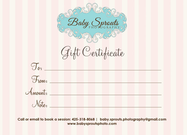 Gift Certificate Baby Sprouts Photography - Baby Sprouts Intended For Photography Session Gift Certificate