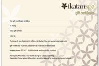 Gift Certificate – Ikatan Balinese Day Spa – Noosa, Sunshine pertaining to Fresh Spa Gift Certificate