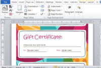Gift Certificate Maker Template For Word 2013 pertaining to Unique Gift Certificate Template In Word 10 Designs