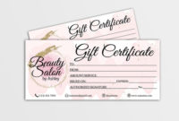 Gift Certificate Template, Editable Gift Card, Gift Voucher, Gift Card  Beauty Salon, Gift Certificate Hair Stylist, Nails, Makeup Artist intended for Fresh Beauty Salon Gift Certificate