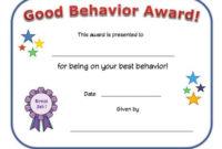 Good Behavior Award Certificate   Reading Certificates with regard to Good Behaviour Certificate Templates