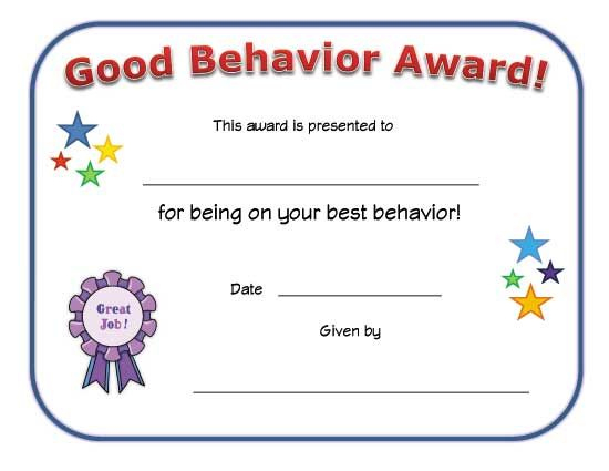 Good Behavior Award Certificate | Reading Certificates with Unique Good Behaviour Certificate Editable Templates
