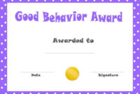 Good Behavior Award Certificates | Free Printable for Unique Good Behaviour Certificate Editable Templates