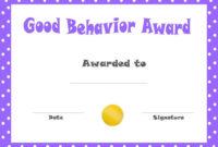 Good Behavior Award Certificates | Free Printable with Good Behaviour Certificate Templates