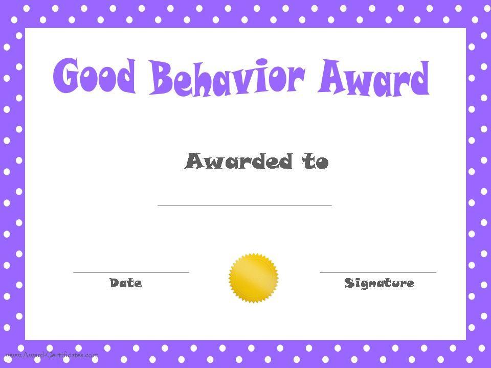 Good Behavior Award Certificates   Free Printable with Good Behaviour Certificate Templates