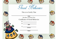 Good Behavior Certificate Printable Certificate regarding Fresh Good Behaviour Certificate Templates